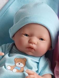 "Mini La Newborn 9.5"" Real Boy Blue Blanket Caucasian Berenguer Doll - Assorted Faces"