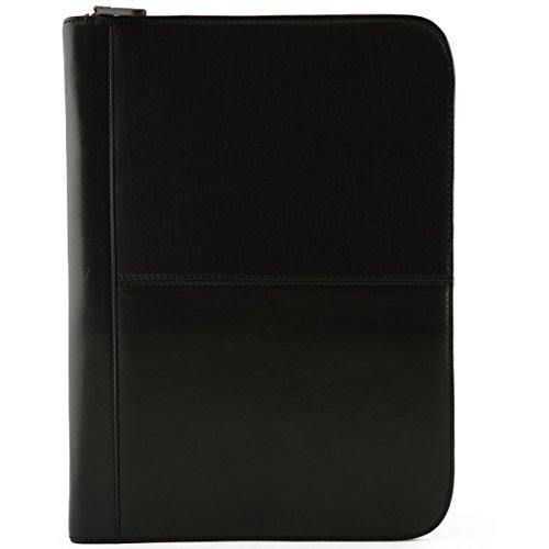 A4 Konferenzmappe Aus Echtem Leder, Mit Inneren Abteilen Farbe Schwarz - Italienische Lederwaren - Aktentasche