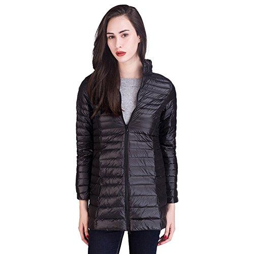 SantimonDe Las Mujeres Peso Ligero Packable Abajo Chaqueta Longitud Media Collar Del Soporte Down Coat Cremallera Desgastar Negro