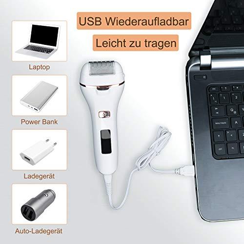 bemece Elektrischer Hornhautentferner, Wasserdicht Elektrische Fußfeile, USB wiederaufladbar, Mit Batterieanzeige und Beleuchtung