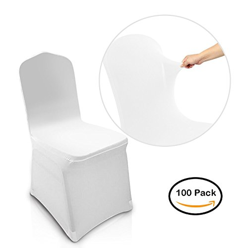 100 PCS Spandex Polyester Chair Covers for Banquet, Party Wedding Decoration (White-1)
