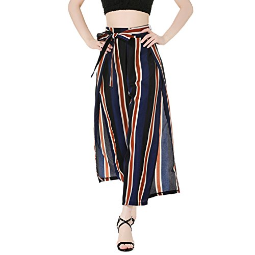 iShine Womens Casual Striped High Waisted Lounge Long Split Wide Leg Palazzo Culottes Pants With Belt