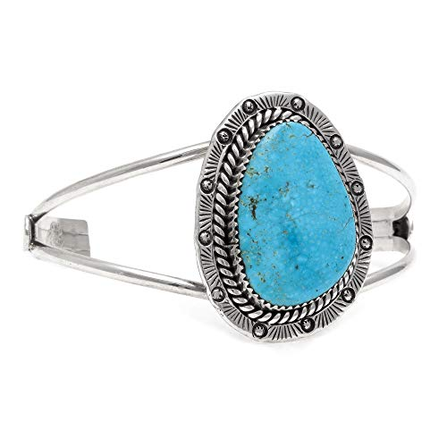- $600 Retail Tag Sun Silver Authentic Handmade Navajo Native American Natural Turquoise Cuff Bracelet