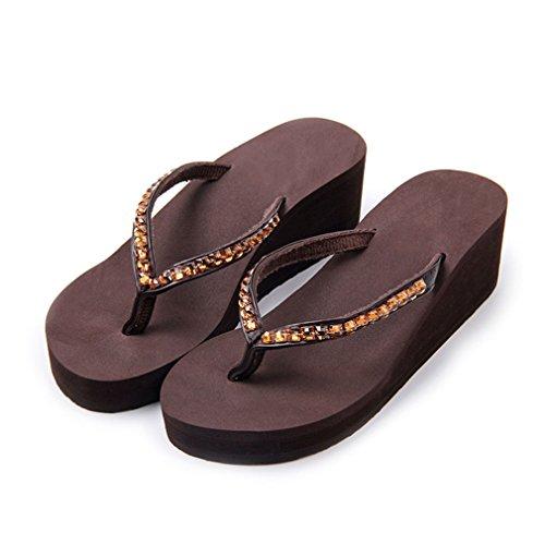 QJIAXING Chanclas Mujeres Cuñas Sandalias Antideslizantes De Verano Zapatillas Al Aire Libre Muffin Bottom High Heels Beach Shoes,Black,36 Brown