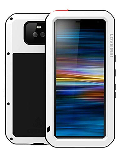 GFU Tempered Glass Sony Xperia 10 Plus Case, Full Body Outdoor Protective Cover Shell for Sony Xperia 10 Plus Ultra Armor Hybrid TPU Metal Silicone Heavy Duty Shockproof (White, Xperia 10 Plus)