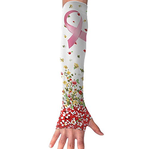 Arm Sleeve Unisex Breast Cancer Awareness Ribbon Outdoor Sun Block Soft Compression Sports Long Arm Sleeve Fingerless Gloves by SryeCewd