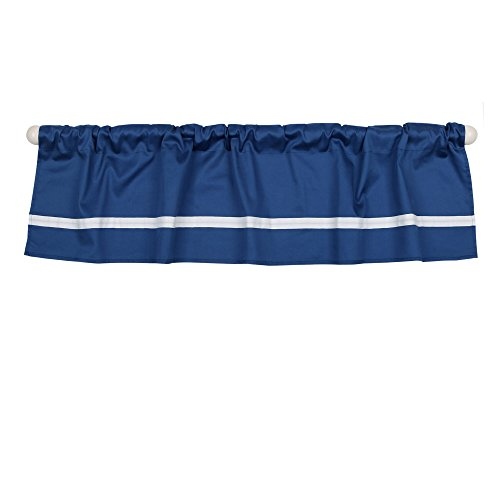 Navy Blue Tailored Window Valance by The Peanut Shell - 100% Cotton (Stripe Blue Tailored Valance)