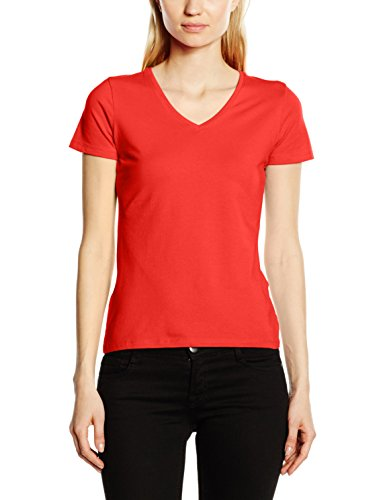 Fruit of the Loom Womens Jersey Junior V-Neck T-Shirt (SFJVR) -Fiery RED -S