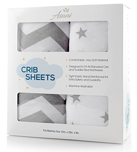 Fitted Baby Crib Sheet | Extra-Soft & Breathable Jersey Cotton Bedding Sheets for Infants, Babies or Toddlers | Anti-Pill Bedding | Cute Neutral Nursery Set for Boys/Girls (2 Pack, Stars/Zig Zags) from Asani