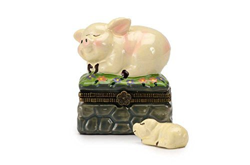 Pig Laying On Grass Porcelain Hinged Lid Trinket Box with Piglet Trinket Inside, By ArtGifts, 1.75