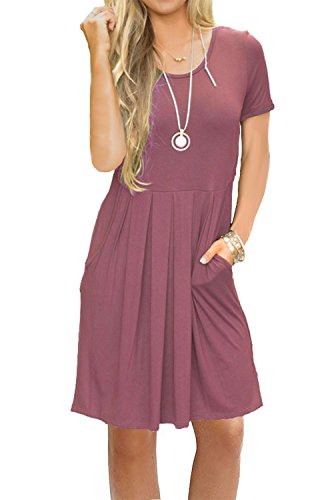 AUSELILY Women's Short Sleeve Pleated Loose Swing Casual Dress with Pockets Knee Length (M, Mauve)]()