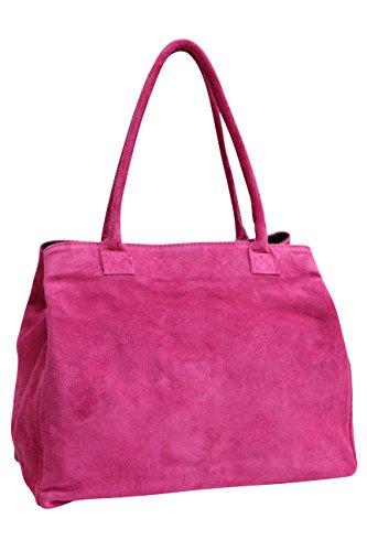 en Sac femme velours en Shopper main WL810 cuir Moda Fuchsia portés Sac daim pour AMBRA à épaule BFSn7
