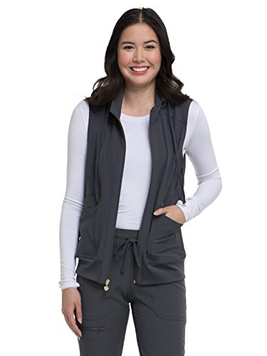 HeartSoul Break On Through Women's in-Vested Love Solid Scrub Vest X-Small Pewter