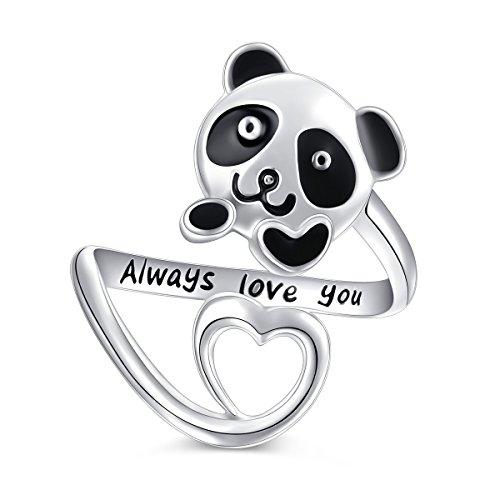 (Bear Necklace Sterling Silver Cute Panda Koala Bear Love Heart Necklace for Women Girl, 18