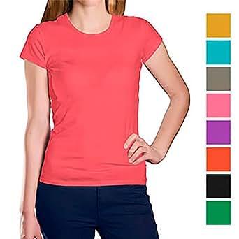 Camisetas Personalizadas para Mujeres con la Imagen y el Texto Que Quieras (Azul, S)