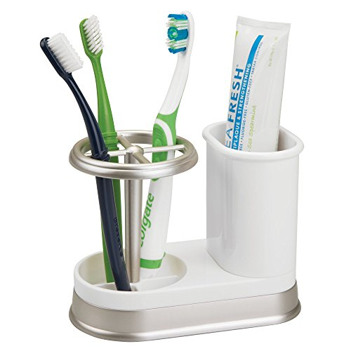 mDesign Decorative Bathroom Dental Storage Organizer Holder Stand for Electric Spin Toothbrushes and Toothpaste, Compact Design Holds 4 Standard Toothbrushes, for Countertops and Vanity - White/Satin