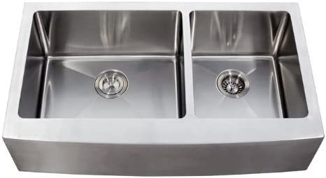 36 Inch Stainless Steel Curved Front Farm Apron Kitchen Sink – 15 mm Radius Design 60 40 Double Bowl 16 Gauge