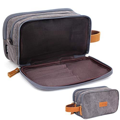 Toiletry Bag for Men, Mens Dopp Kit Travel Shaving Kit Bag for Shower (Dark Gray-Canvas Water-resistant)