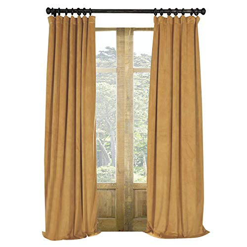 Artdix Blackout Curtains Panels Window Drapes - Amber Gold 50W x 63L Inches (2 Panels) Velvet Lined Back Tab Nursery Insulated Solid Thermal Custom Curtains for Bedroom, Living Room, Kids Room