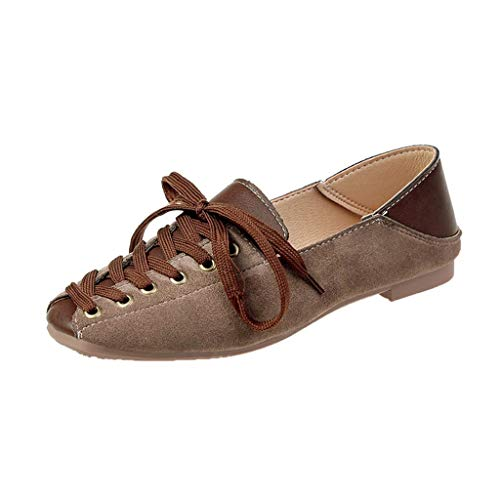 Meigeanfang Women's Fashion Flock Shallow Lace Up Casual Falts Wild Shoes for Women (Brown,39)