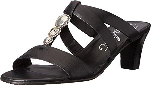 Brighton Tenley Black Leather Kitten Heel Jeweled Sandals (7M)