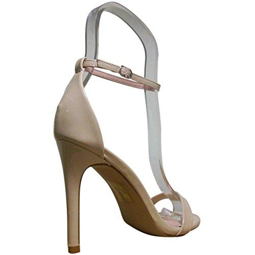 Bella Marie Dames Flora-18 Open Teen Stiletto Sandaaltjes Nude Patent