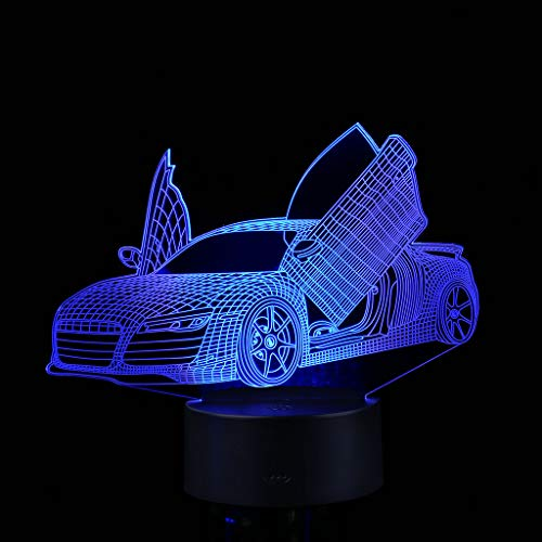 Gbell Boys Race Car Desk LED Night Light with 7 Color Changing - USB Power Touch Control - 3D Illuminated Racing Car Lamp Optical Illusion Night Light for Kids Boys Girls Adutls Room Decor (Black) -