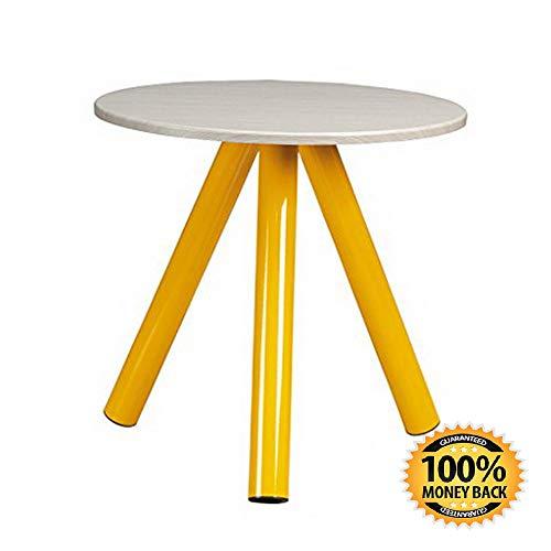 """ArtMuseKit 414846 Soft Modern Side Table, L W: 19.45"""" x H: 19.57"""", Yellow Saffron Finish"""