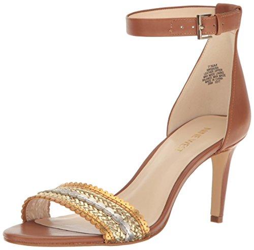 (Nine West Women's Isaura Leather Dress Sandal, Dark Natural/Gold, 8 M US)