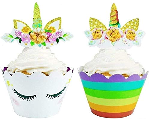 Unicorn Cupcake Topper and Wrapper for Kids Party Supplies - 24 Sets of Toppers and Wrappers ()