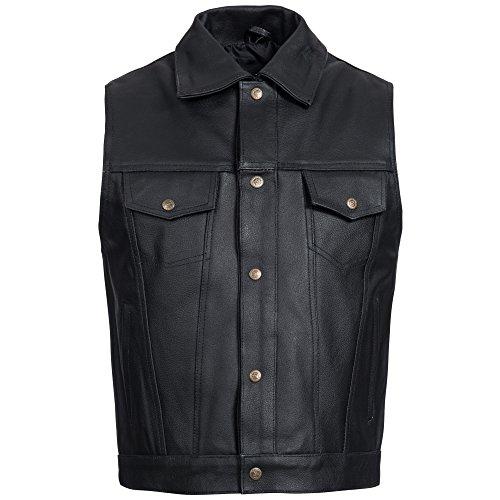 Gaudi-leathers Mens Leather Waistcoat Motorcycle Motorbike Biker Vest Jeans Style in Black 2XL