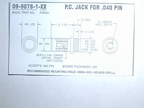 Concord 09-9078-1-03 Gold Plated PC Jack for .040 Pins (100 per package) (1 Concord)