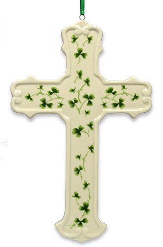 Cross Ceramic Celtic - Irish Celtic Porcelain Cross with Shamrocks Hanging Wall Plaque