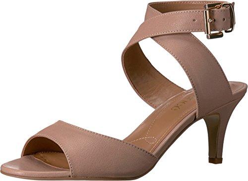 J. Renee Women's Soncino Criss Cross Ankle Strap Mid Heel Sandal,Nude Nappa - Nappa Leather Beige