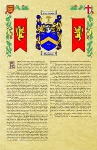 Jocylin Coat of Arms / Family Crest with Armorial History on Beautiful 11 x 17 Parchment Paper