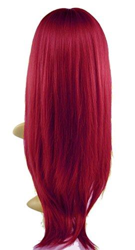 Leyee Charming Fashion Long Straight Wig Kanekalon Fiber Synthetic Women Wigs with Neat Bangs (#39 Wine Red)