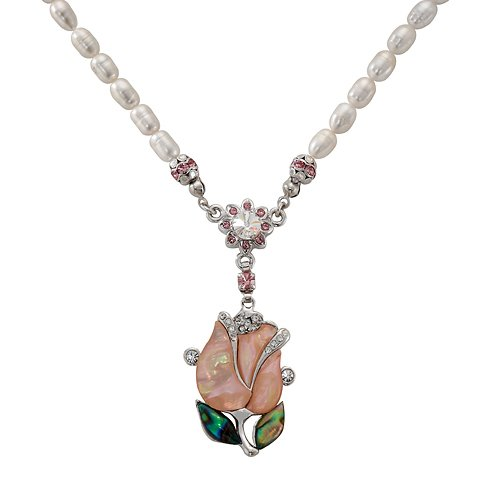 Mother of Pearl Pink Tulip Flower Design Shell 7mm Natural Freshwater White Pearl Chain Pendant - Beads Tulip Shell