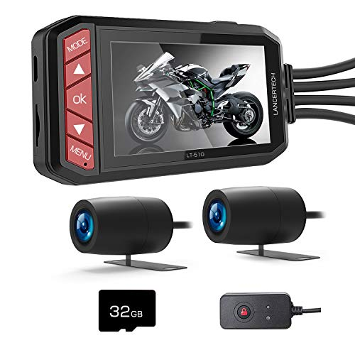 LANCERTECH LT-510 Motorcycle Dash Camera, FHD 1080P Front and Rear Driving Recorder 2.7 Inch LCD Screen 130° Wide Angle with WDR, G-Sensor, Loop Recording