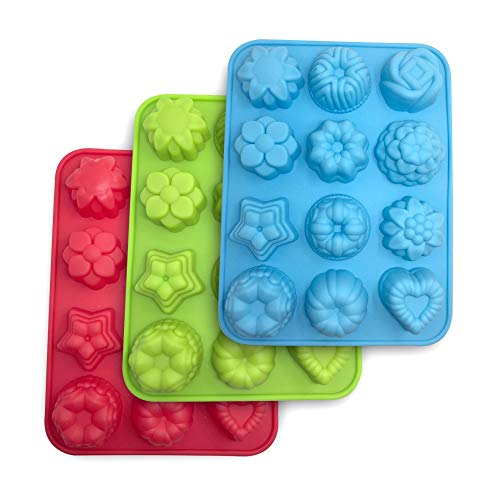 SourceTon Flowers Silicone non-Stick Mold, 3-Pack of Bake Mold for Cake, Jelly, Pudding, Chocolate, Cupcake, 12-Cavity Muffin Pan, Baking Pans with Flowers and Heart shape. - Blue, Green and ()