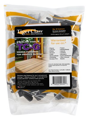 Tiger Claw TC-G Hidden Deck Fasteners for Grooved Boards (90-Pack)