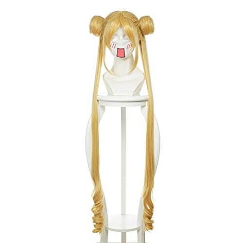 Alacos Long Wavy Cosplay Wigs with Buns for Sailor Moon Tsukino Usagi +Free Wig Cap (Flaxen Gold)