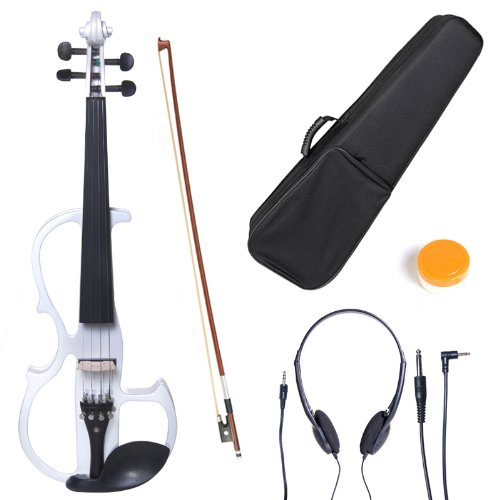 Cecilio L1/2CEVN-L2W Left-Handed Solid Wood Pearl White Electric Violin with Ebony Fittings in Style 2 by Cecilio