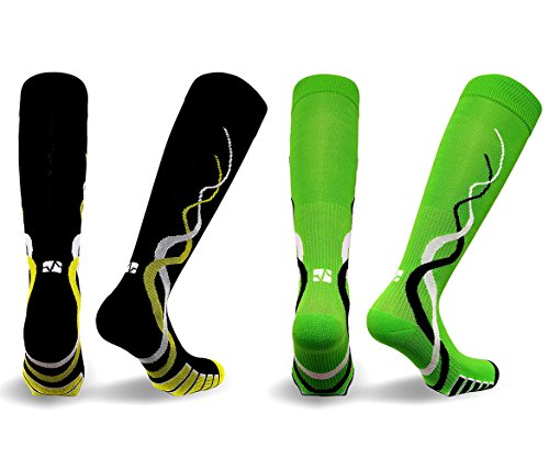 Mozlly Value Pack - Vitalsox Womens Black AND Green Silver Drystat Compression Socks - Large - VTW0316 - Matrix Training, Recovery - 4 Way Stretch - Stops Odor and Bacteria (2 Items) -