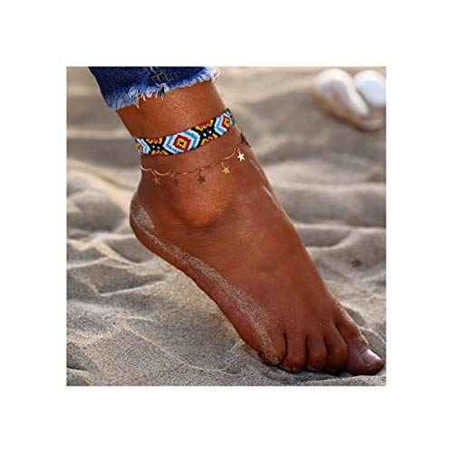SEWEI Starfish Turtle Anklets Rope Anklet Layered Boho