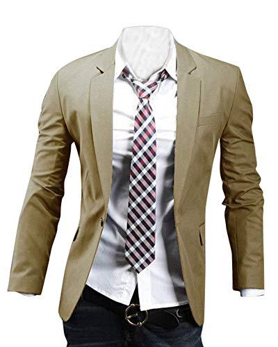 Long Leisure Blazer Giacca Suit Fashion Taglie Casual Abiti Kaki Uomo Business Comode Hx Lapel Men Sleeve Fit Slim SgR5AqW
