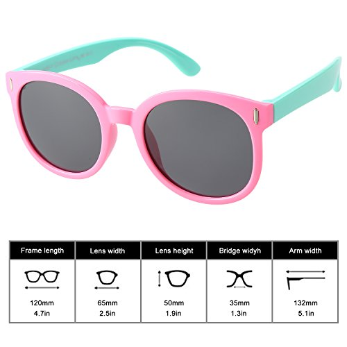 Brooben Rubber Flexible Kids Polarized Sunglasses for Baby and Children Age 3-10 - Bendable Sunglasses