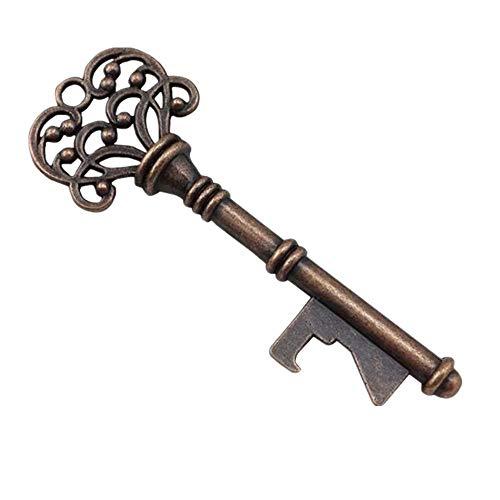 Bottle Opener Retro Bottle Opener Keychain Portable Key Shape Alloy Wedding Favor Skeleton Key Bottle Opener for Rustic Decoration 1PC (Gold) (Retro Opener Bottle)