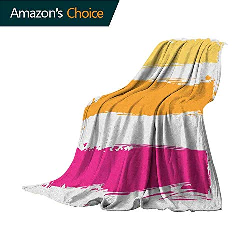 Cheap Orange and Pink Weighted Blanket Adult Grunge Paint Smear Composition Abstract Banner Design for Bed & Couch Sofa Easy Care 35