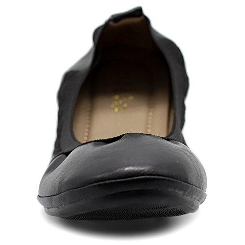 Ollio Damen Schuhkragen Schuh Pull Tab Comfort Ballett Flat Schwarz