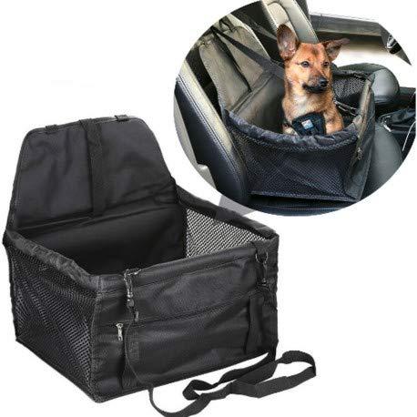 DOBO Transportín de coche para asiento, cesta para sillita de perro, gato, mascotas con correas de seguridad y suave acolchado interno.